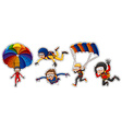 Sticker set with people playing air sports vector image vector image