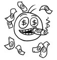 stickman cartoon of rich man with money and big vector image
