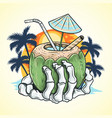 summer coconut tree and hand skull at beach vector image