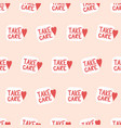 take care seamless background unique hand vector image