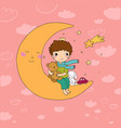 the little prince is sitting on moon cute vector image