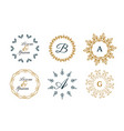 wedding monograms or decorative logos in mandala vector image