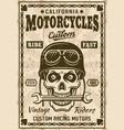motorcycles poster with skull in helmet vector image