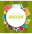 Sports background with soccer sticker symbols vector image