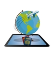 travel tablet globe airplane password design vector image