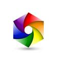 abstract colorful logo icon design hexagon spiral vector image