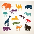 African animals stylized silhouettes