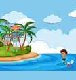 background scene with kids on beach vector image vector image