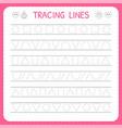 basic writing trace line worksheet for kids vector image