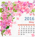 Calendar for 2016 May vector image