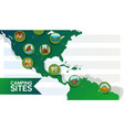 camping sites icon on green map people rest vector image
