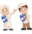 cartoon muslim kids vector image vector image