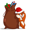 christmas bag squirrel vector image