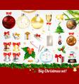 christmas elements set vector image vector image