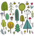 collection hand drawn wild forest trees vector image