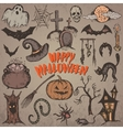 Collection of sketch Halloween characters vector image