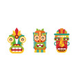 colorful native american indian totems set wooden vector image vector image