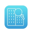 Condominium and magnifying glass line icon vector image