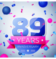 Eighty nine years anniversary celebration on grey vector image vector image