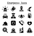 emergency icon set vector image vector image