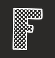 F alphabet letter with white polka dots on black vector image vector image