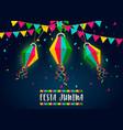 festa junina card paper balloons at night vector image