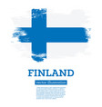 finland flag with brush strokes independence day vector image