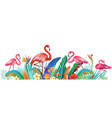 flamingoes with tropical flowers vector image vector image