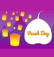 flying lantern on vesak day greeting card vector image
