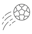 flying soccer ball thin line icon game and sport vector image vector image