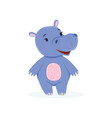 funny baby hippo character cute behemoth african vector image vector image
