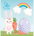happy easter rabbit with carrots egg rainbow vector image