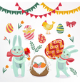 happy easter set elements - rabbits eggs chicks vector image