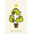 Happy Green Christmas tree vector image