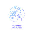 increased awareness blue gradient concept icon