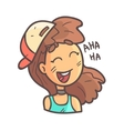Laughing Girl In Cap Choker And Blue Top Hand vector image vector image