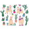 llamas and cactus mexican cute alpaca with desert vector image vector image