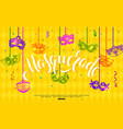 mardi gras banner design with hanging carnival vector image
