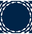 Navy blue and white simple fishes circle frame vector image vector image