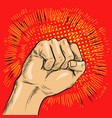 pop art fist hitting or vector image vector image