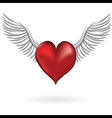 Red heart with wing love symbol vector image vector image
