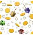 seamless background with symbols of hanukkah vector image