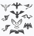 set eagle symbols for logo design vector image