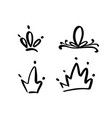 set hand drawn symbol a stylized crown vector image