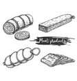 set meat products in retro sketch style vector image