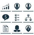 set of 9 management icons includes job applicants vector image vector image