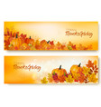 set of happy thanksgiving banners with autumn vector image vector image