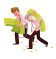 two men young and old carrying huge bundle of vector image