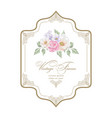vintage greeting card decorative gold frame vector image
