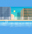 water outdoor swimming pool hotel city relax view vector image vector image